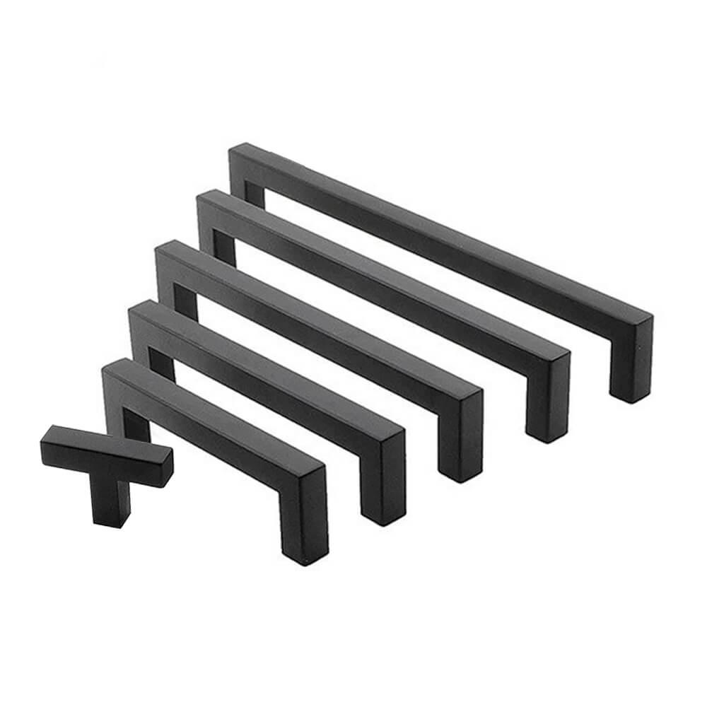 handgreep - zwart deurgreep - zwart zwarte handgrepen vierkant