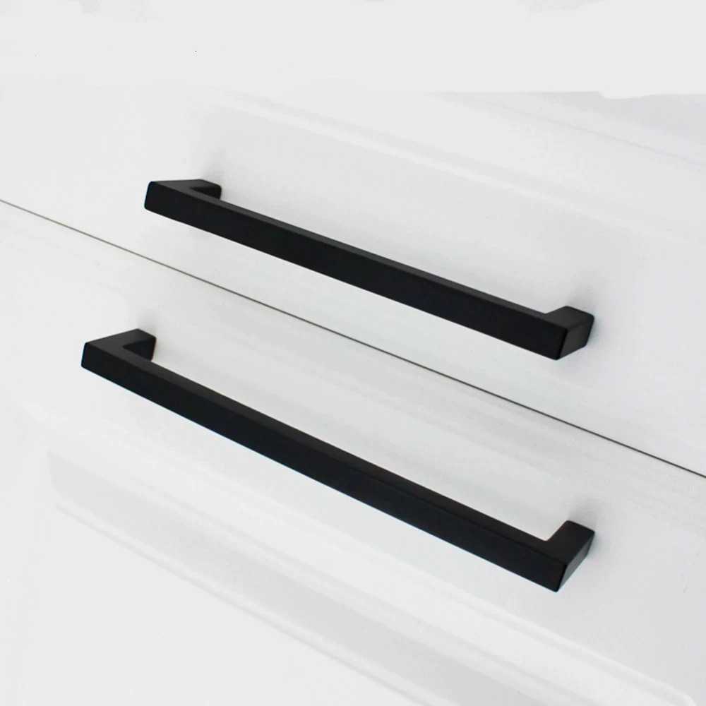 Zwarte-Kast-Handgrepen-Zwart-Vierkant-Keukenkast-Handvatten-Moderne-Lade