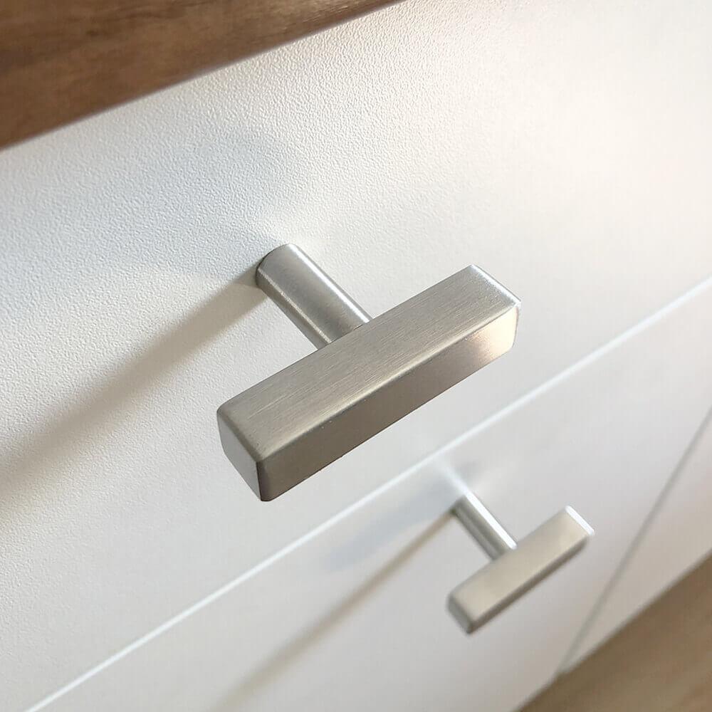 deurknop chrome vierkant 50mm zilver