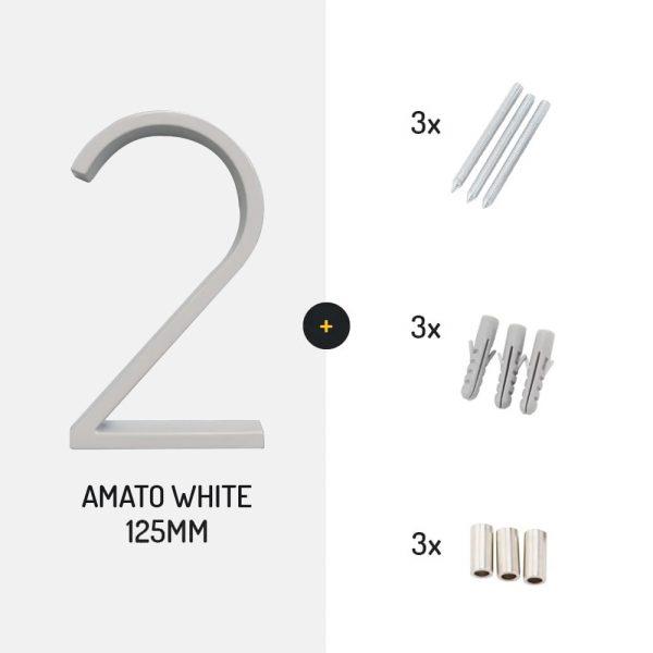 amato white met schroeven wit huisnummer