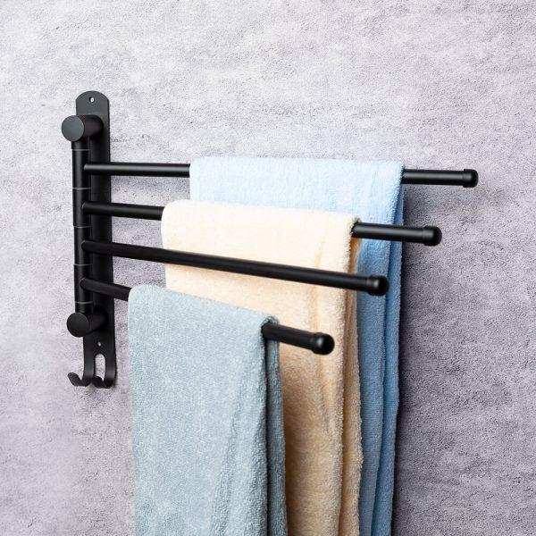 handdoekenrek zwarte stang badkamer