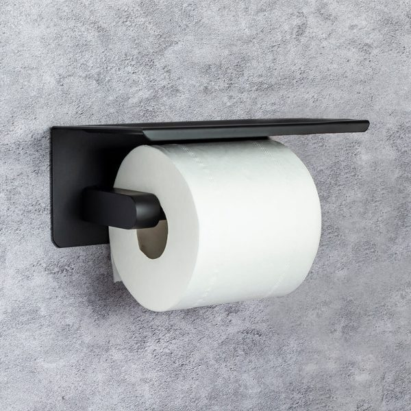 mobiele zwarte toiletrolhouder